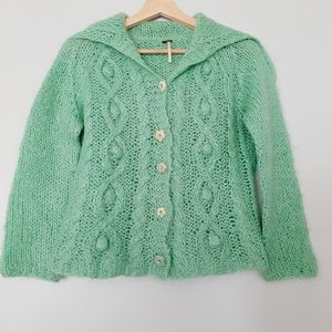 FREE PEOPLE Mohair blend Knit Anthro Cardigan Chunky Knit XS S